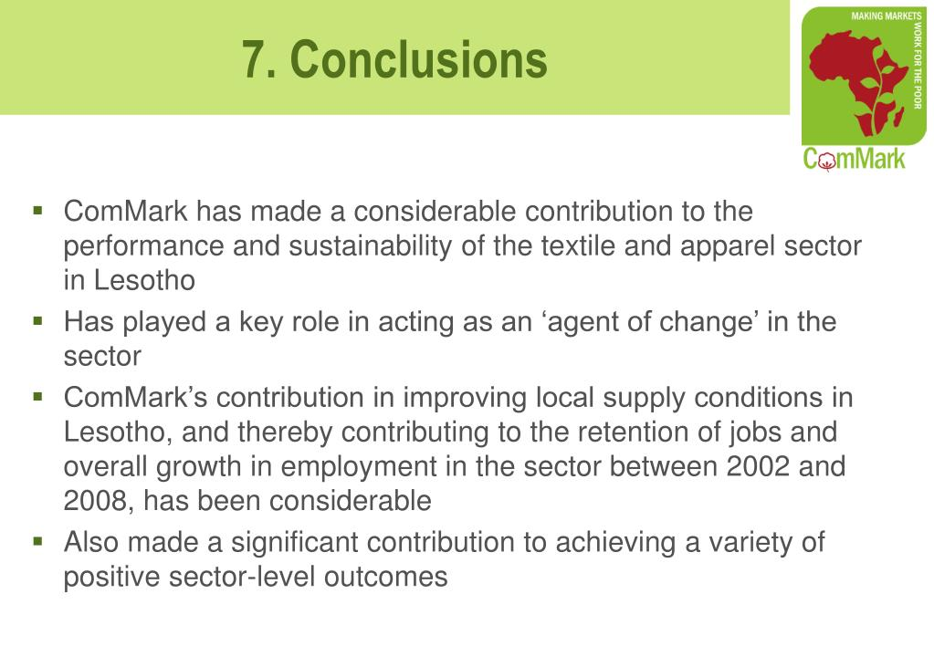 ComMark has made a considerable contribution to the performance and sustainability of the textile and apparel sector in Lesotho