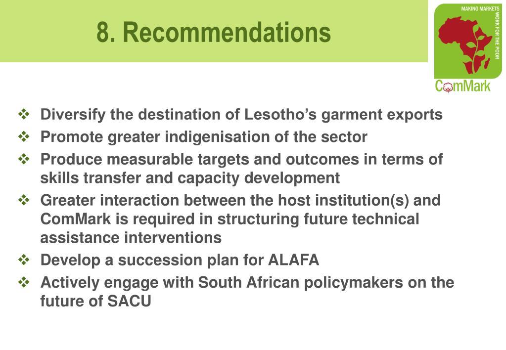 Diversify the destination of Lesotho's garment exports