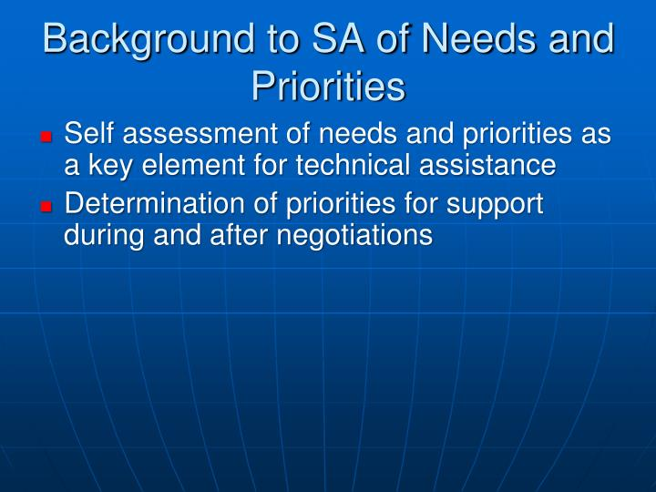 Background to sa of needs and priorities