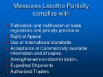 measures lesotho partially complies with