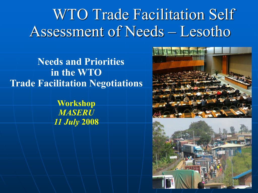 wto trade facilitation self assessment of needs lesotho l.