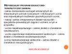 indywidualny program edukacyjno terapeutyczny zawiera