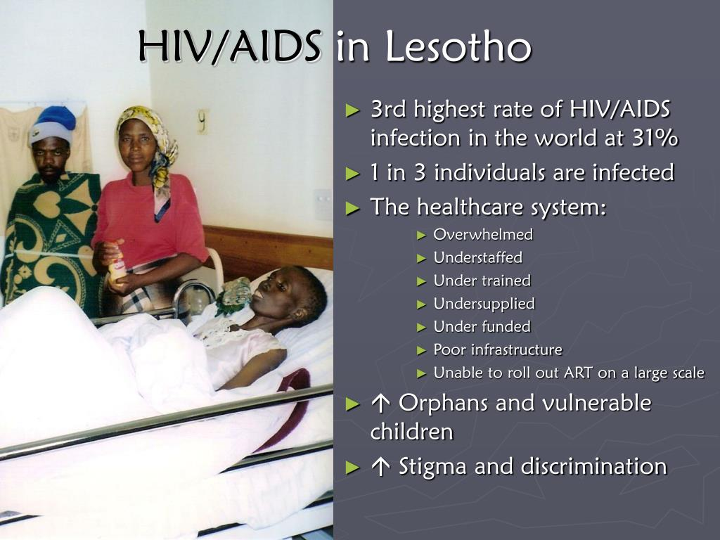 3rd highest rate of HIV/AIDS infection in the world at 31%