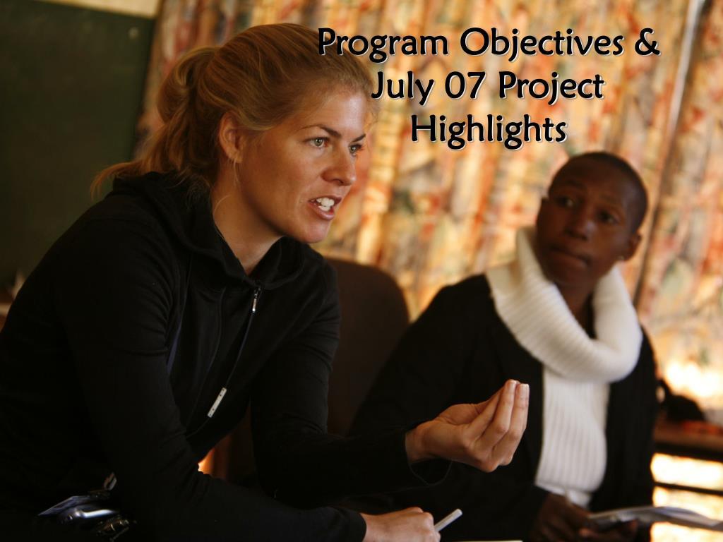 Program Objectives &