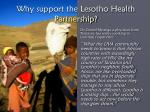 why support the lesotho health partnership