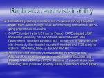 replication and sustainability
