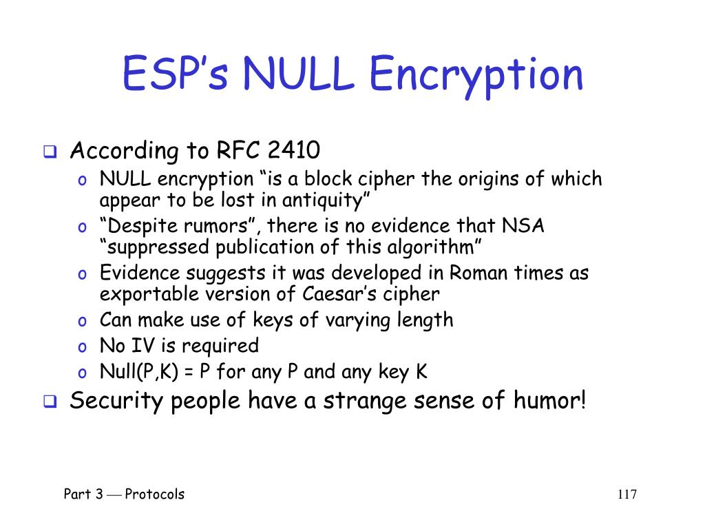 ESP's NULL Encryption