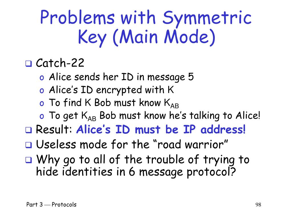 Problems with Symmetric Key (Main Mode)