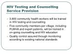 hiv testing and counselling service provision