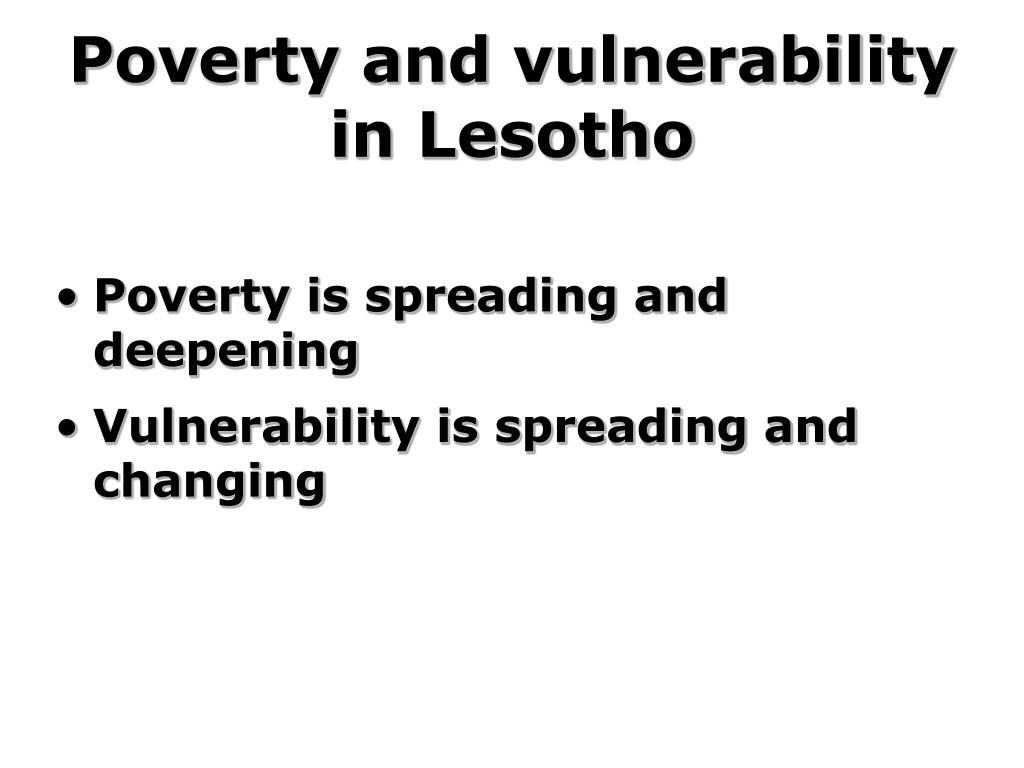 Poverty and vulnerability in Lesotho