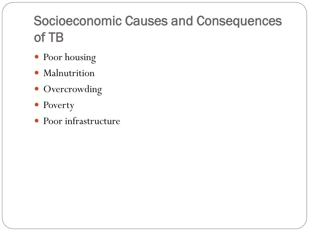 Socioeconomic Causes and Consequences of TB