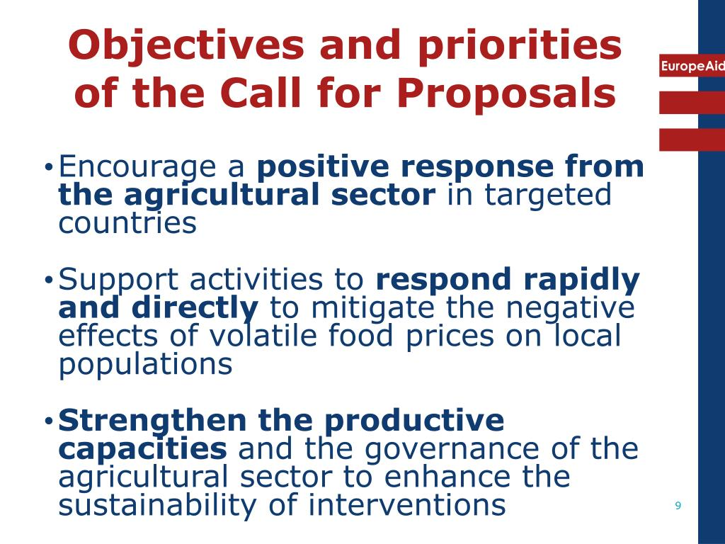 Objectives and priorities of the Call for Proposals