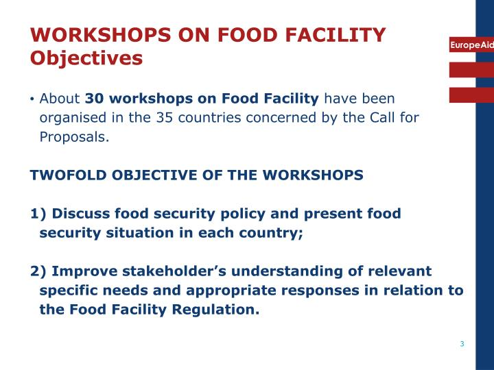 Workshops on food facility objectives