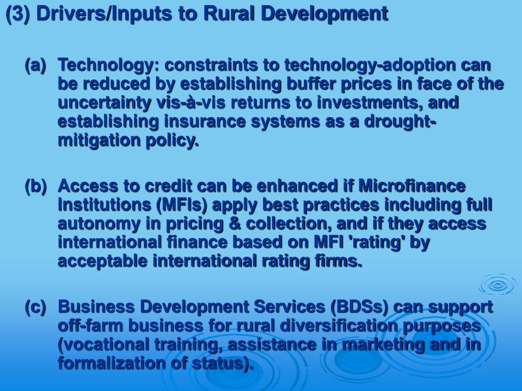 (3) Drivers/Inputs to Rural Development