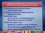 example of domestic law conflicts oecd convention against corruption