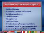 initiatives on combating corruption