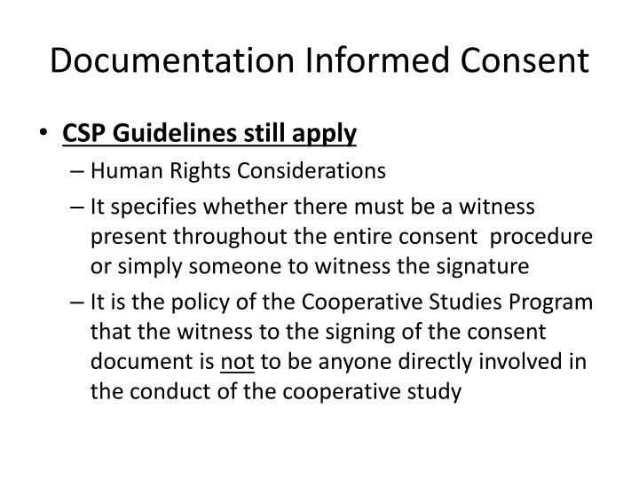 Documentation Informed Consent