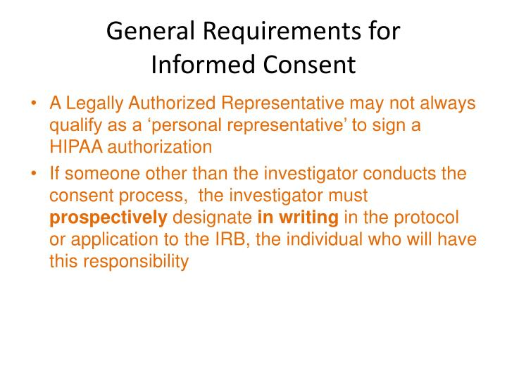 General requirements for informed consent