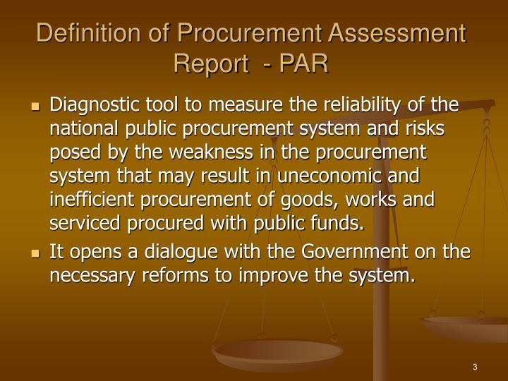 Definition of procurement assessment report par