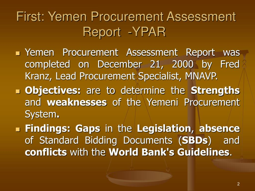 First: Yemen Procurement Assessment Report  -YPAR