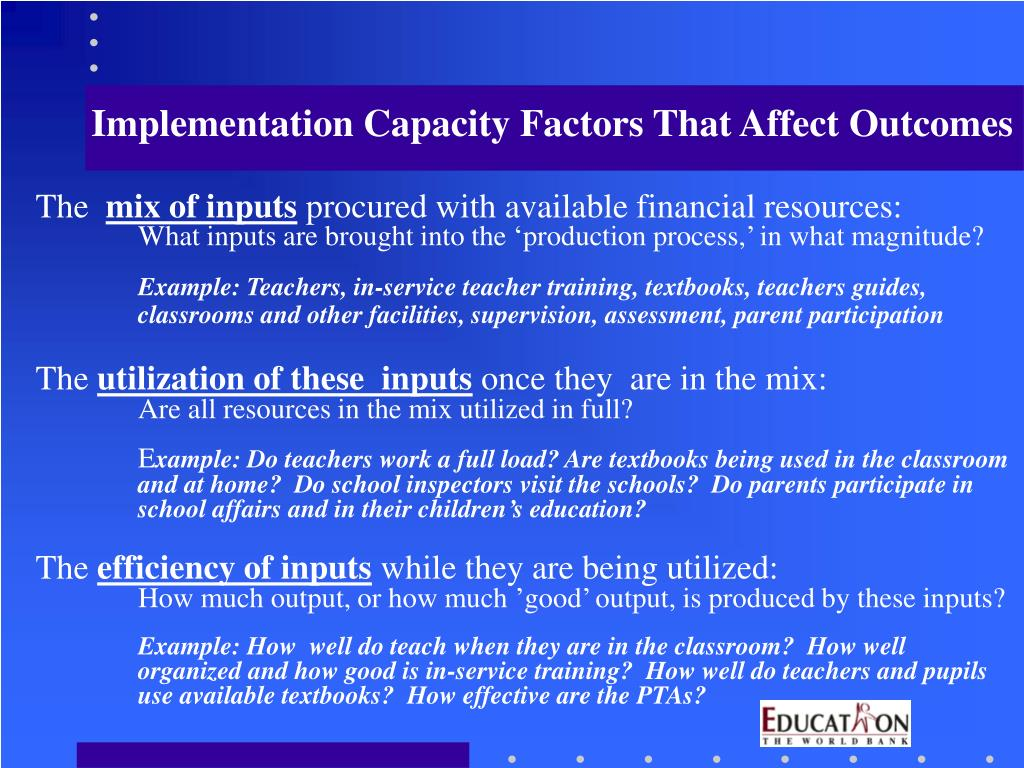 Implementation Capacity Factors That Affect Outcomes