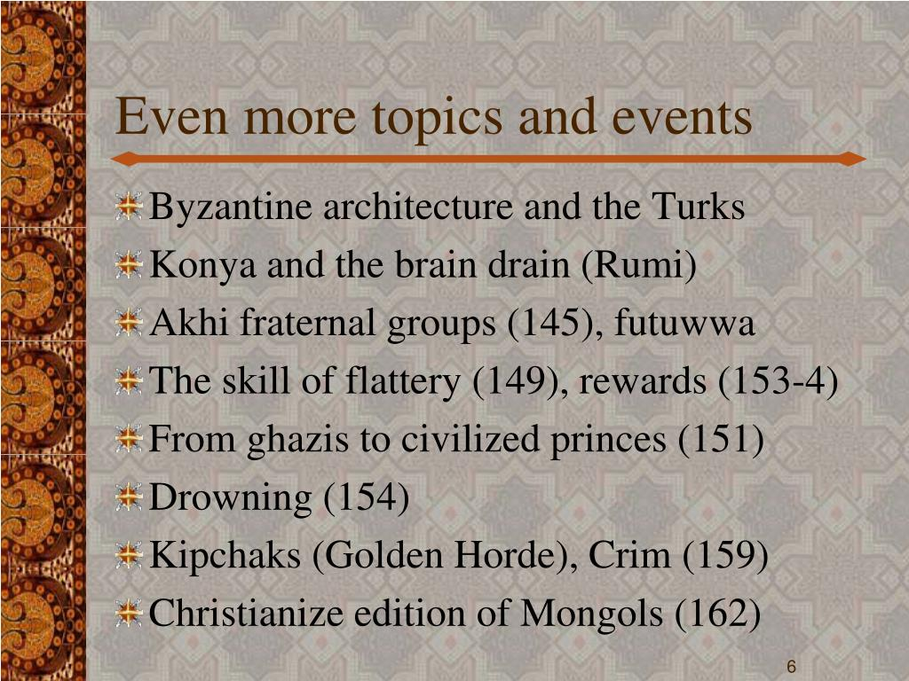 Even more topics and events