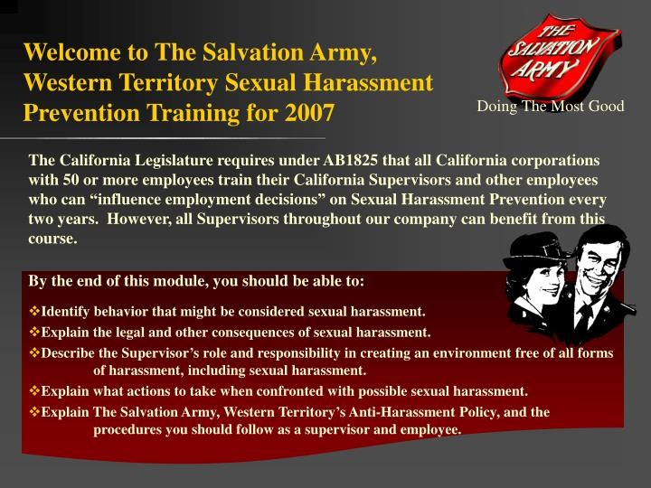 welcome to the salvation army western territory sexual harassment prevention training for 2007 n.
