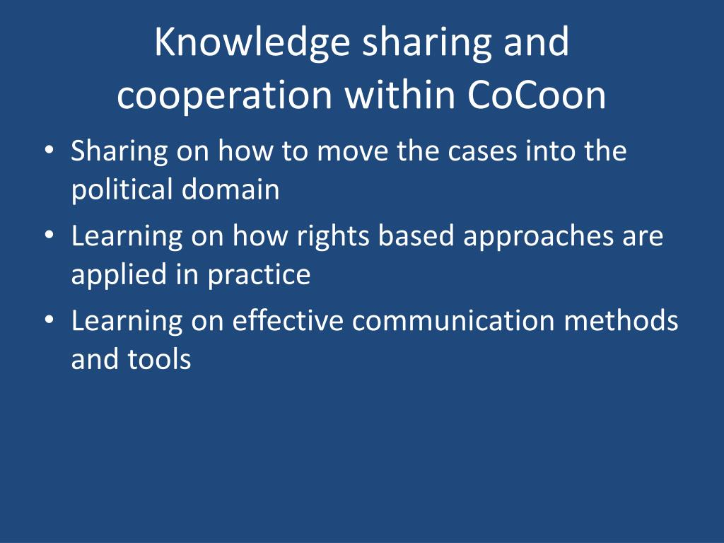 Knowledge sharing and cooperation within CoCoon