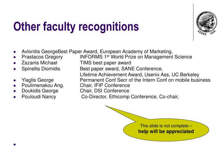 Other faculty recognitions