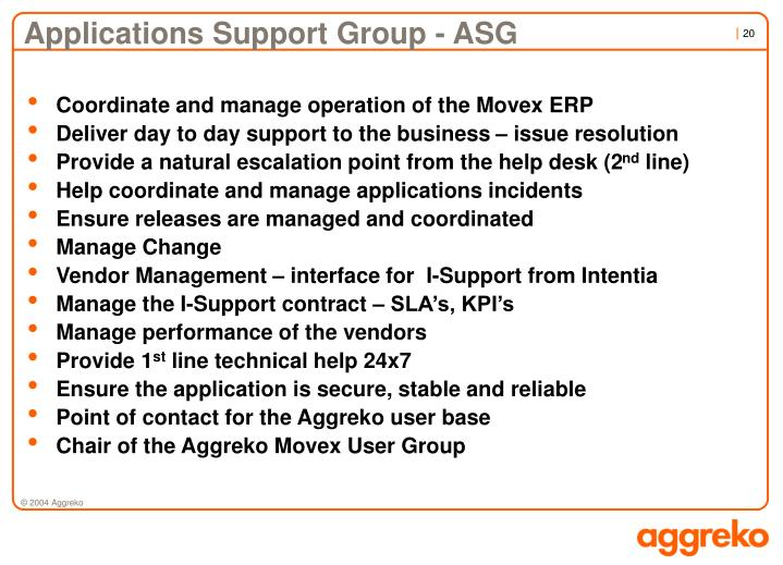 Applications Support Group - ASG