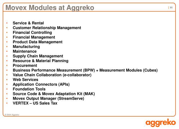 Movex Modules at Aggreko
