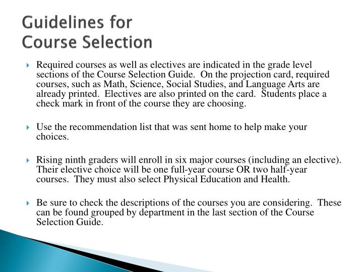 Guidelines for course selection