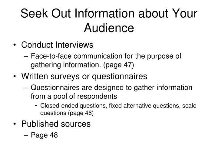 Seek Out Information about Your Audience
