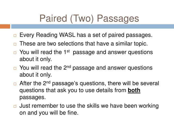 Paired (Two) Passages