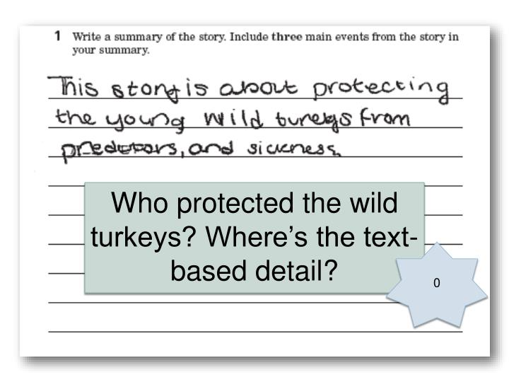 Who protected the wild turkeys? Where's the text-based detail?