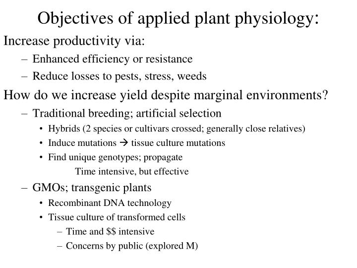 objectives of applied plant physiology n.