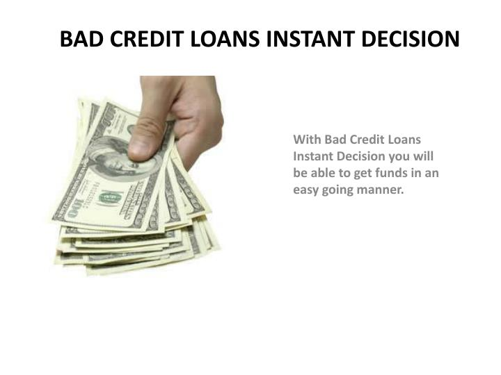 Bad credit loans instant decision