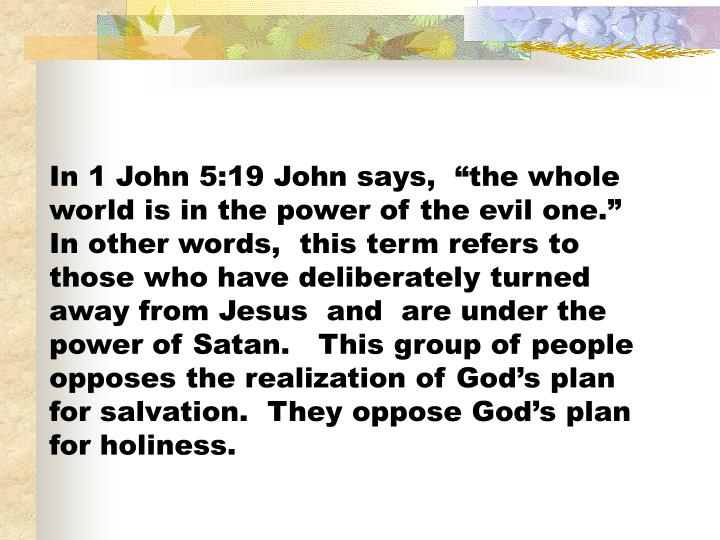 """In 1 John 5:19 John says,  """"the whole world is in the power of the evil one.""""  In other words,  this term refers to those who have deliberately turned away from Jesus  and  are under the power of Satan.   This group of people opposes the realization of God's plan for salvation.  They oppose God's plan for holiness."""