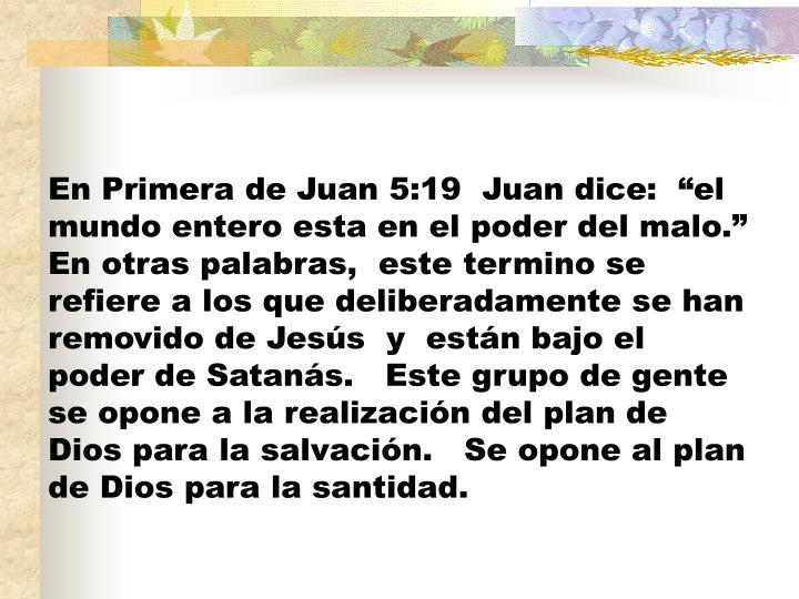 """En Primera de Juan 5:19  Juan dice:  """"el mundo entero esta en el poder del malo."""" En otras palabras,  este termino se refiere a los que deliberadamente se han removido de Jesús  y  están bajo el poder de Satanás.   Este grupo de gente se opone a la realización del plan de Dios para la salvación.   Se opone al plan de Dios para la santidad."""