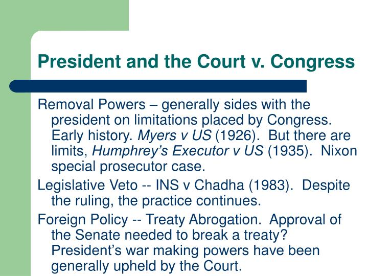 President and the court v congress