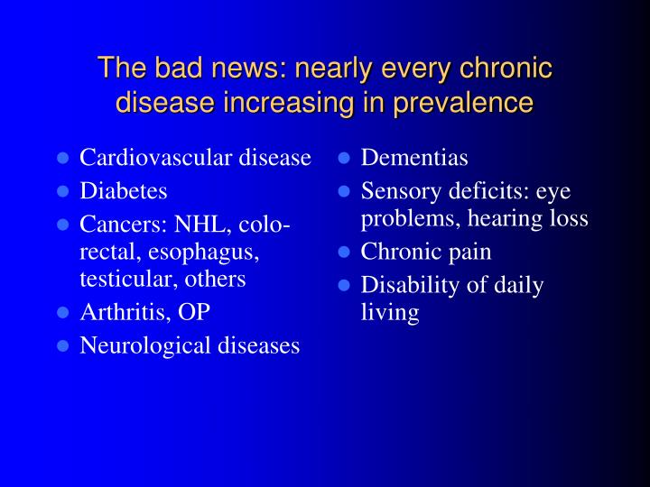 The bad news: nearly every chronic disease increasing in prevalence