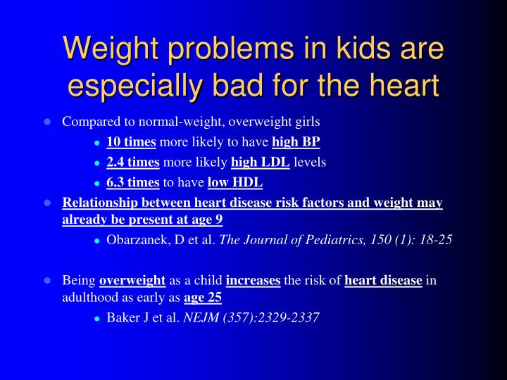 Weight problems in kids are especially bad for the heart