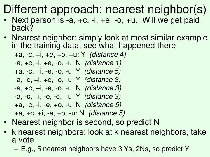 Different approach: nearest neighbor(s)