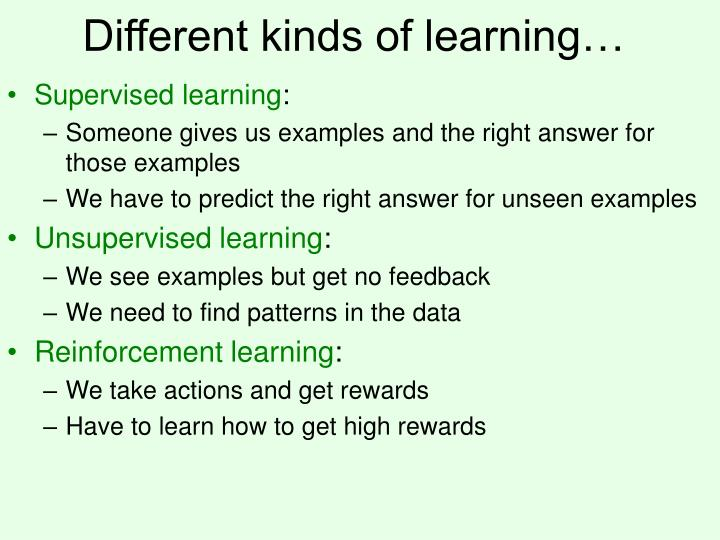 Different kinds of learning
