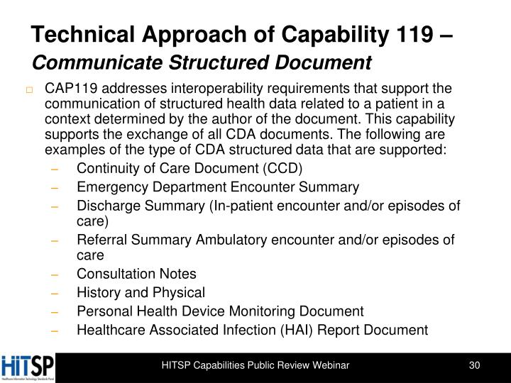 Technical Approach of Capability 119 –