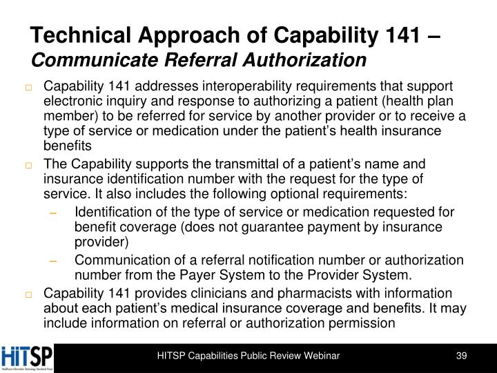 Technical Approach of Capability 141 –