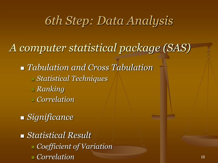 6th Step: Data Analysis