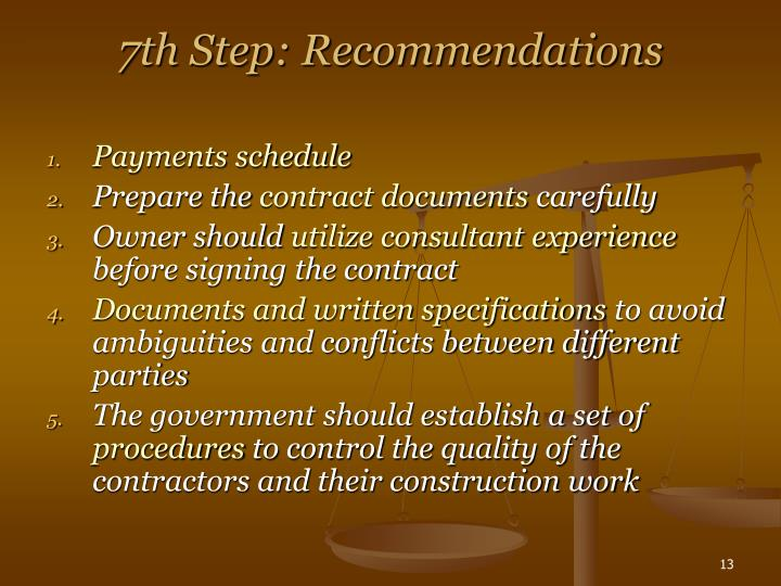 7th Step: Recommendations