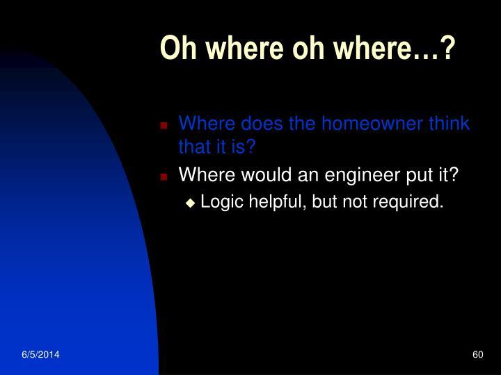 Oh where oh where…?