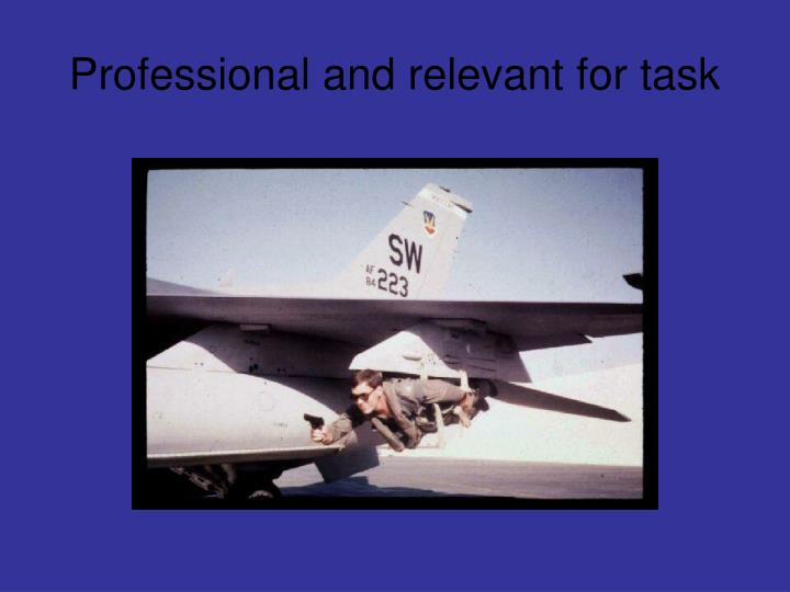 Professional and relevant for task